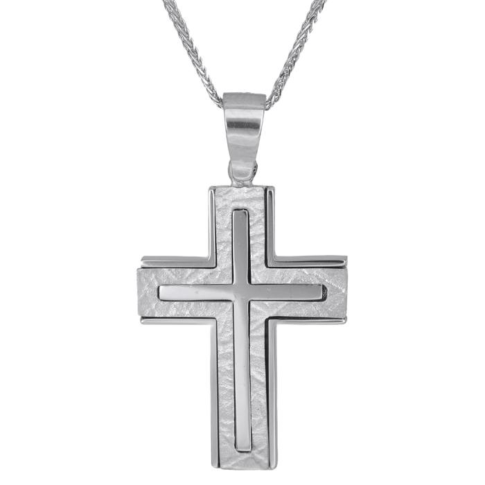 Βαπτιστικοί Σταυροί με Αλυσίδα Λευκόχρυσος βαπτιστικός σταυρός Κ14 007856C 007856C Ανδρικό Χρυσός 14 Καράτια