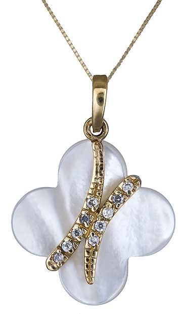 Κολιέ χρυσό 14Κ με φίλντισι και ζιργκόν 007913 007913 Χρυσός 14 Καράτια