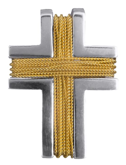 Σταυροί Βάπτισης - Αρραβώνα Δίχρωμος ανδρικός σταυρός Κ14 008273 008273 Ανδρικό Χρυσός 14 Καράτια