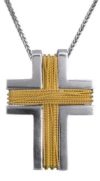 Βαπτιστικοί Σταυροί με Αλυσίδα Ανδρικός σταυρός Κ14 C008273 008273C Ανδρικό Χρυσός 14 Καράτια