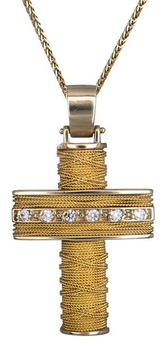 Βαπτιστικοί Σταυροί με Αλυσίδα Χρυσός σταυρός με σύρμα Κ14 C008412 008412C Γυναικείο Χρυσός 14 Καράτια