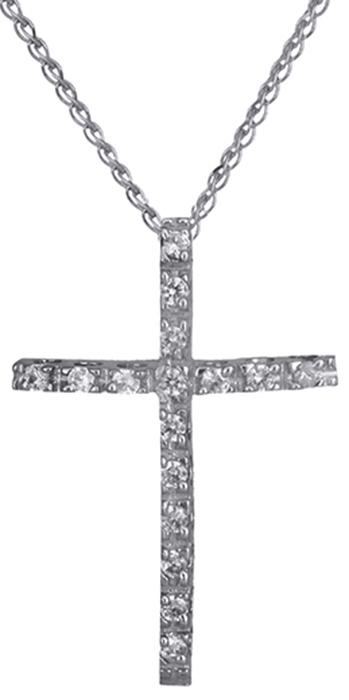 Γυναικείος σταυρός πετράτος C008442 008442C Χρυσός 14 Καράτια