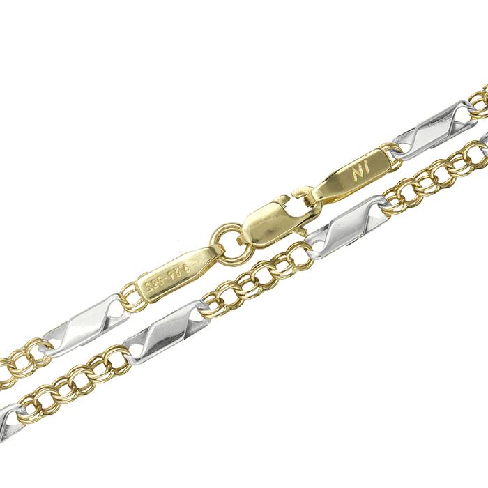 Δίχρωμη αλυσίδα λαιμού 008454 008454 Χρυσός 14 Καράτια χρυσά κοσμήματα αλυσίδες   καδένες