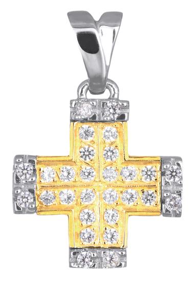 Σταυροί Βάπτισης - Αρραβώνα ΓΥΝΑΙΚΕΙΟΣ ΔΙΧΡΩΜΟΣ ΣΤΑΥΡΟΣ 14Κ ΜΕ ΖΙΡΓΚΟΝ 008891 008891 Γυναικείο Χρυσός 14 Καράτια