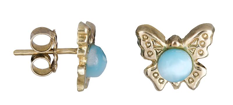 Σκουλαρίκια με πεταλούδες Κ14 009080 009080 Χρυσός 14 Καράτια παιδικά κοσμήματα σκουλαρίκια