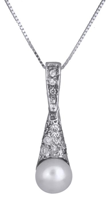 Κολιέ λευκόχρυσο με μαργαριτάρι Κ14 009107 009107 Χρυσός 14 Καράτια