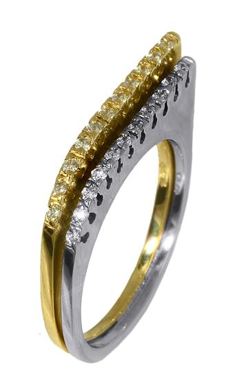 Δαχτυλίδι δίχρωμο 009497 Χρυσός 14 Καράτια