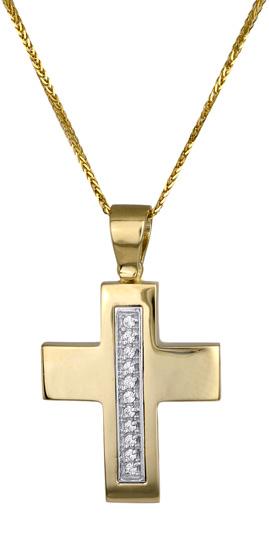 Βαπτιστικοί Σταυροί με Αλυσίδα ΓΥΝΑΙΚΕΙΟΙ ΣΤΑΥΡΟΙ C009597 009597C Γυναικείο Χρυσός 14 Καράτια