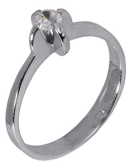 Λευκόχρυσο δαχτυλίδι μονόπετρο 009612 009612 Χρυσός 14 Καράτια