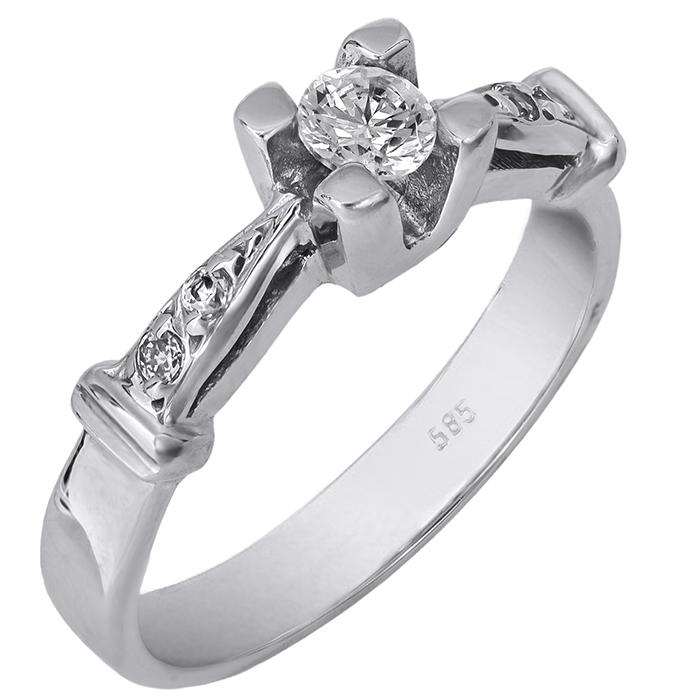 Μονόπετρο δαχτυλίδι 009662 009662 Χρυσός 14 Καράτια