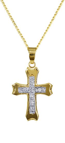 Βαπτιστικοί Σταυροί με Αλυσίδα Σταυρός για βάπτιση με αλυσίδα 010342C Γυναικείο Χρυσός 14 Καράτια