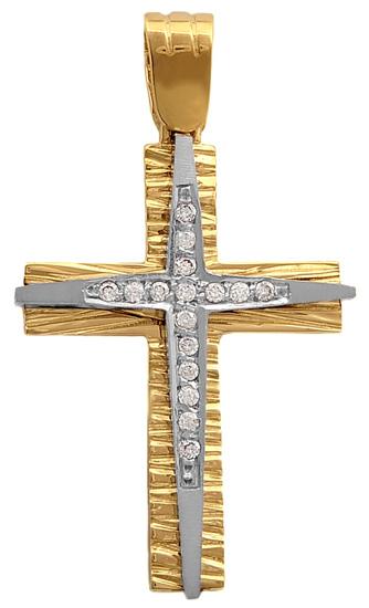 Σταυροί Βάπτισης - Αρραβώνα Δίχρωμος σταυρός 14Κ 010793 Γυναικείο Χρυσός 14 Καράτια