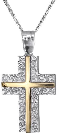 Βαπτιστικοί Σταυροί με Αλυσίδα Αντρικός σταυρός διπλής όψεως 14Κ C010800 010800C Ανδρικό Χρυσός 14 Καράτια