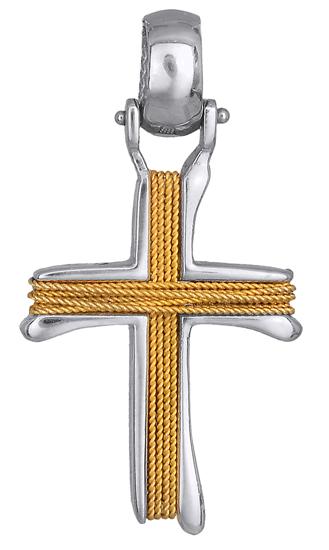 Σταυροί Βάπτισης - Αρραβώνα Δίχρωμος σταυρός βαπτιστικός 010838 010838 Ανδρικό Χρυσός 14 Καράτια