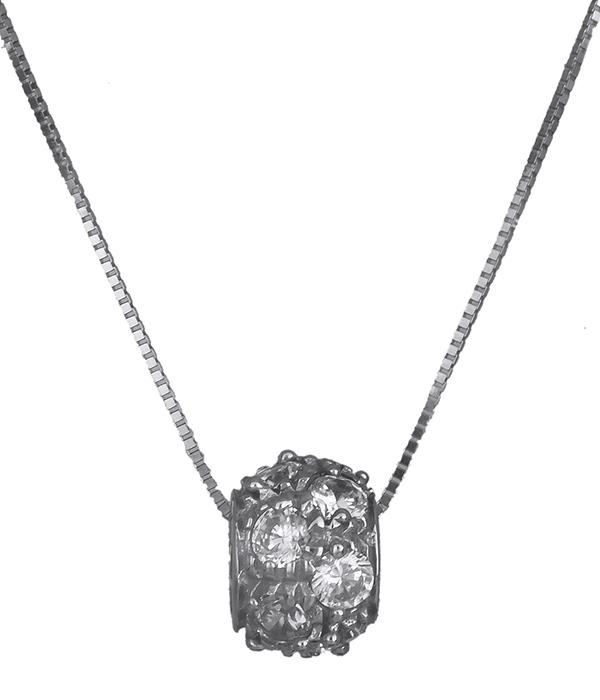 Κολιέ με πέτρες λευκόχρυσο Κ14 010880 010880 Χρυσός 14 Καράτια