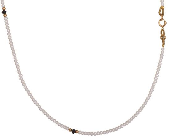 Μαργαριταρένιο κολιέ Κ14 με ζαφείρια 011082 011082 Χρυσός 14 Καράτια