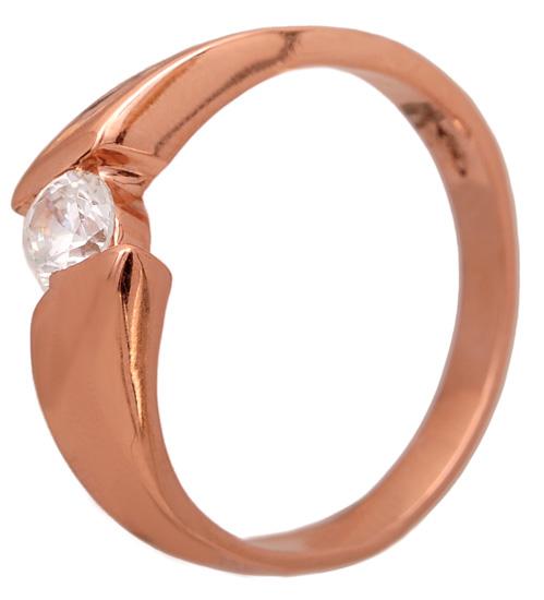 Ροζ χρυσό μονόπετρο δαχτυλίδι 14Κ 011105 Χρυσός 14 Καράτια