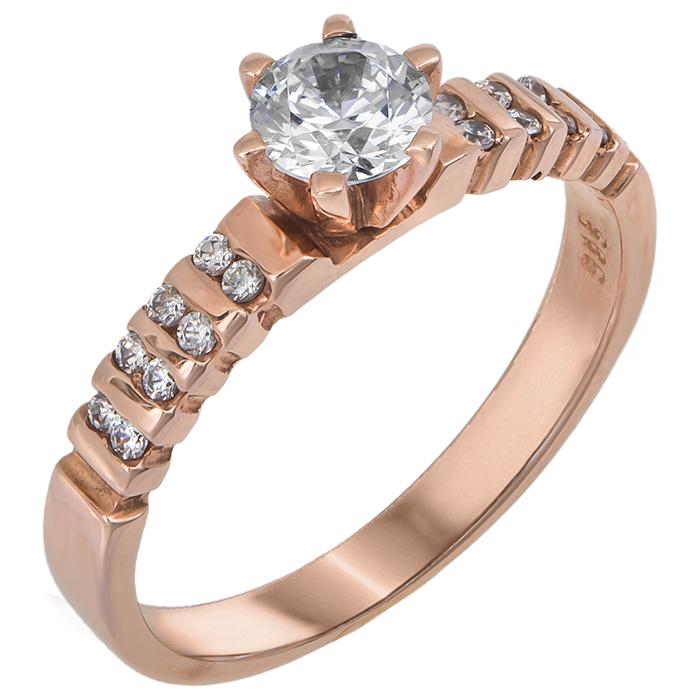 Ροζ χρυσό μονόπετρο δαχτυλίδι 14Κ 011110 Χρυσός 14 Καράτια