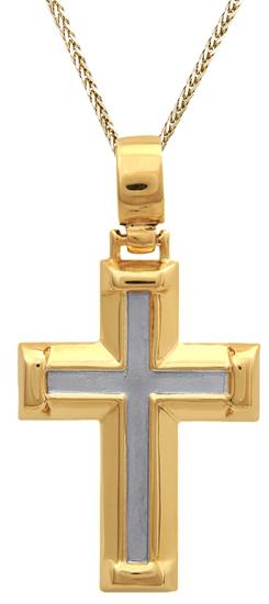 Βαπτιστικοί Σταυροί με Αλυσίδα Δίχρωμος σταυρός 14Κ C011130 011130C Ανδρικό Χρυσός 14 Καράτια
