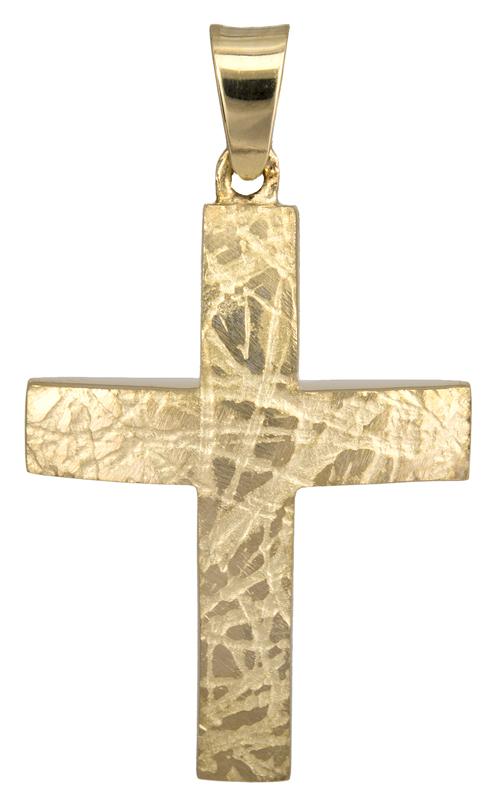 Σταυροί Βάπτισης - Αρραβώνα Χρυσός Σταυρός 9K με Ανάγλυφη Ματ Όψη 012772 012772 Ανδρικό Χρυσός 9 Καράτια