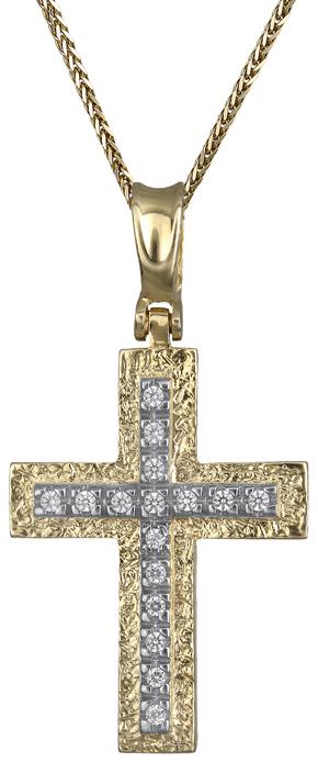 Βαπτιστικοί Σταυροί με Αλυσίδα Γυναικείος σταυρός με αλυσίδα Κ14 C011259 011259C Γυναικείο Χρυσός 14 Καράτια