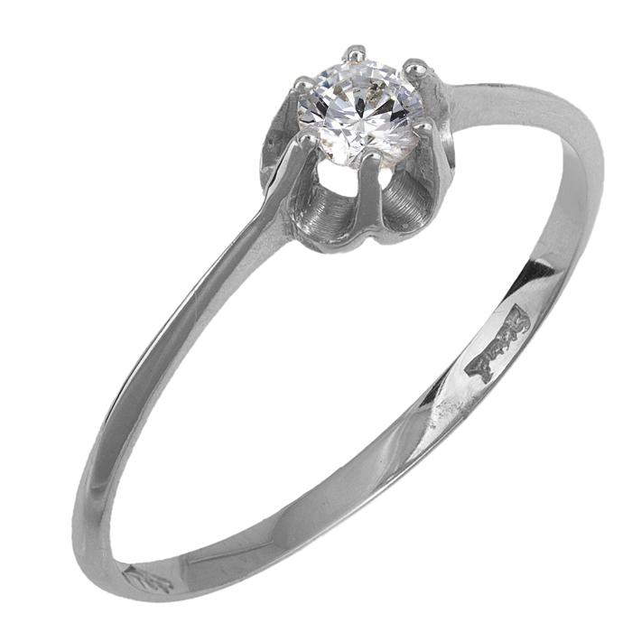 Μονόπετρο λευκόχρυσο δαχτυλίδι 14Κ 011261 011261 Χρυσός 14 Καράτια