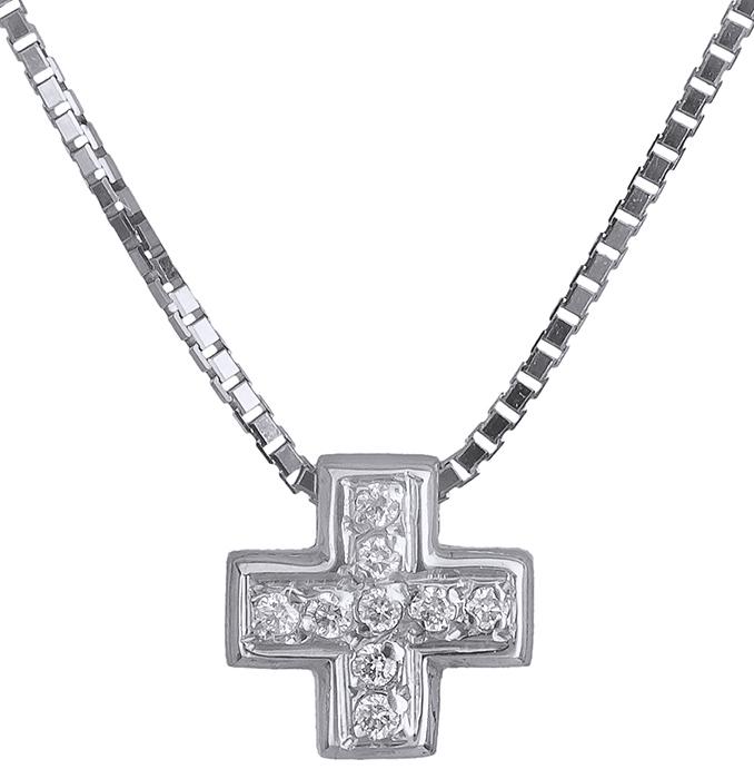 Σταυρός λευκόχρυσος 18Κ με διαμάντια 011271 011271 Χρυσός 18 Καράτια χρυσά κοσμήματα σταυροί