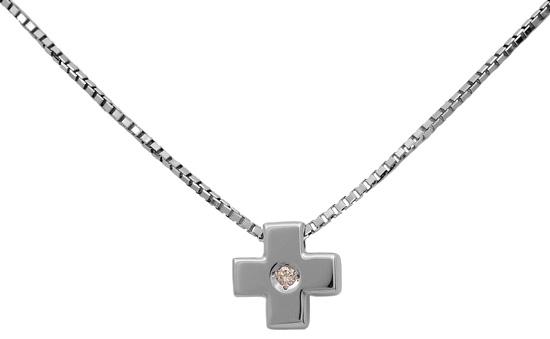 Λευκόχρυσος σταυρός 18Κ με brilliant 011272 Χρυσός 18 Καράτια χρυσά κοσμήματα σταυροί