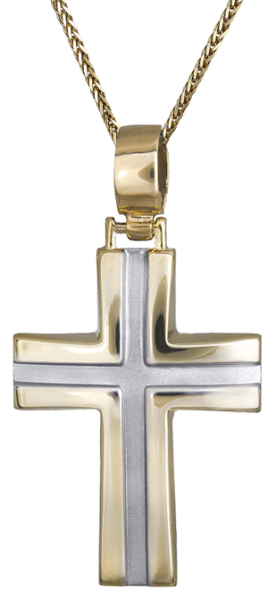 Βαπτιστικοί Σταυροί με Αλυσίδα Ανδρικός σταυρός δίχρωμος 9Κ C013528 013528C Ανδρικό Χρυσός 9 Καράτια