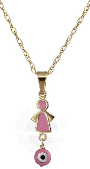 Κολιέ ροζ κοριτσάκι 14Κ 011292 011292 Χρυσός 14 Καράτια