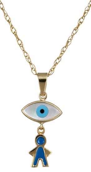 Κολιέ χρυσό με μάτι φίλντισι 011296 011296 Χρυσός 14 Καράτια