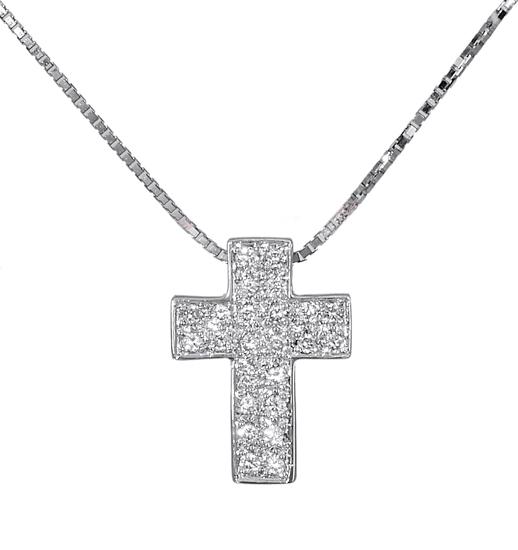 Βαπτιστικοί Σταυροί με Αλυσίδα Σταυρός λευκόχρυσος 18Κ με διαμάντια 011312 01131 σταυροί βάπτισης   γάμου βαπτιστικοί σταυροί με αλυσίδα