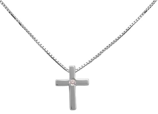 Λευκόχρυσος σταυρός 18Κ με διαμάντια 011341 Χρυσός 18 Καράτια