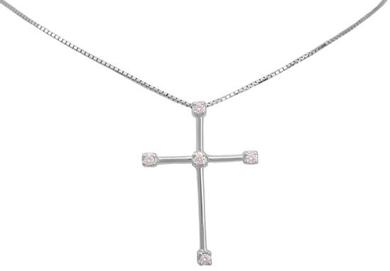 Βαπτιστικοί Σταυροί με Αλυσίδα Λευκόχρυσος σταυρός 18Κ με brilliant 011342 Γυναικείο Χρυσός 18 Καράτια