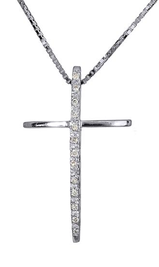 Βαπτιστικοί Σταυροί με Αλυσίδα Σταυρός λευκόχρυσος 18Κ με διαμάντια 011343 01134 σταυροί βάπτισης   γάμου βαπτιστικοί σταυροί με αλυσίδα