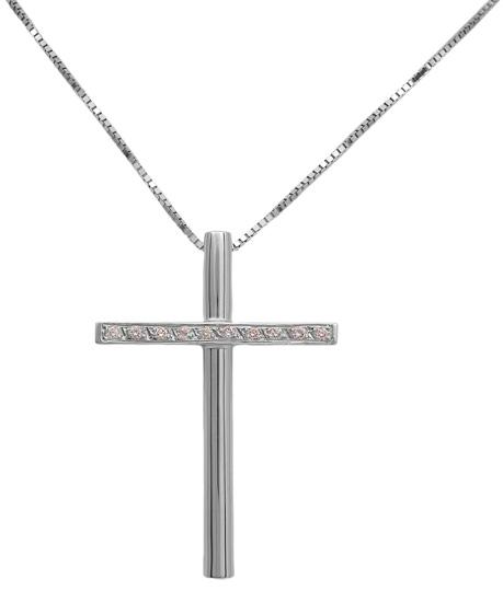 Βαπτιστικοί Σταυροί με Αλυσίδα Σταυρός λευκόχρυσος 18Κ με διαμάντια 011344 Γυναικείο Χρυσός 18 Καράτια