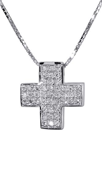 Βαπτιστικοί Σταυροί με Αλυσίδα Λευκόχρυσος σταυρός 18Κ με διαμάντια 011345 011345 Γυναικείο Χρυσός 18 Καράτια