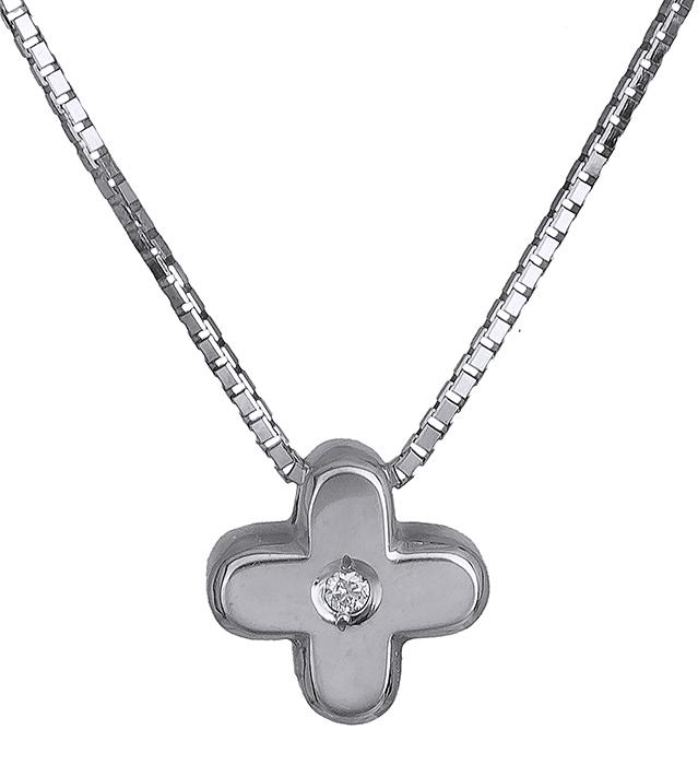 Λευκόχρυσος σταυρός 18Κ με διαμάντια 011346 011346 Χρυσός 18 Καράτια
