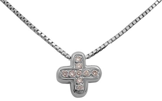 Λευκόχρυσος σταυρός 18Κ με διαμάντια 011376 Χρυσός 18 Καράτια
