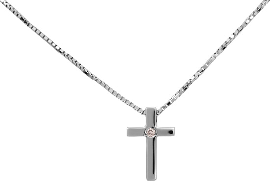 Λευκόχρυσος σταυρός 18Κ με διαμάντια 011379 Χρυσός 18 Καράτια