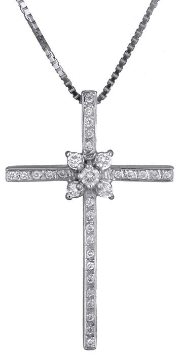 Βαπτιστικοί Σταυροί με Αλυσίδα Σταυρός λευκόχρυσος 18Κ με διαμάντια 011397 011397 Γυναικείο Χρυσός 18 Καράτια