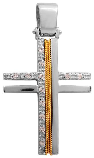 Σταυροί Βάπτισης - Αρραβώνα Δίχρωμος συρματερός σταυρός 14Κ 011427 Γυναικείο Χρυσός 14 Καράτια