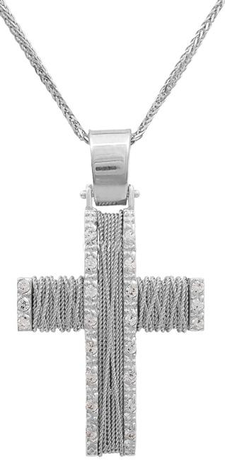 Βαπτιστικοί Σταυροί με Αλυσίδα Χειροποίητος συρματερός σταυρός 14Κ με αλυσίδα C011429 011429C Γυναικείο Χρυσός 14 Καράτια