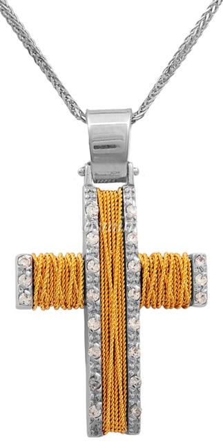 Βαπτιστικοί Σταυροί με Αλυσίδα Δίχρωμος χειροποίητος σταυρός με αλυσίδα 14Κ 011430C Γυναικείο Χρυσός 14 Καράτια