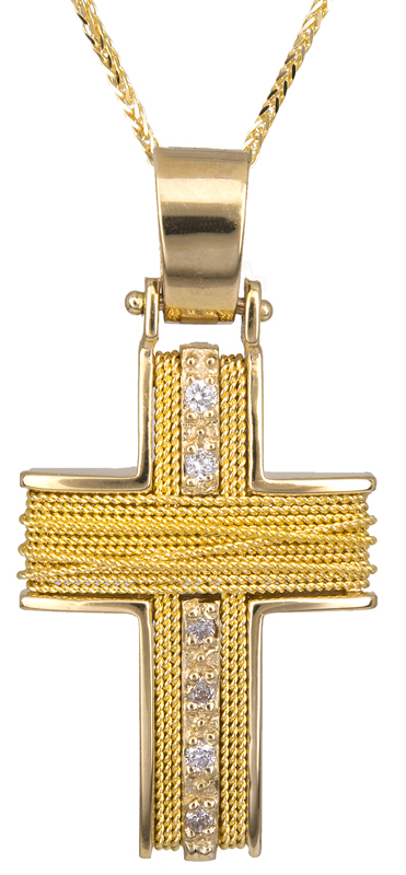 Βαπτιστικοί Σταυροί με Αλυσίδα Χρυσός σταυρός 14Κ με αλυσίδα C011434 011434C Γυναικείο Χρυσός 14 Καράτια