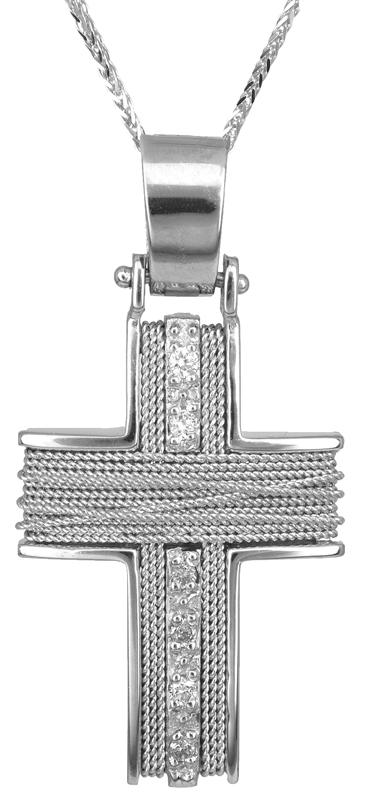 Βαπτιστικοί Σταυροί με Αλυσίδα Λευκόχρυσος σταυρός με αλυσίδα 14Κ C011435 011435C Γυναικείο Χρυσός 14 Καράτια
