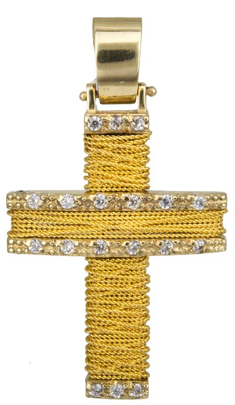 Σταυροί Βάπτισης - Αρραβώνα Συρματερός χρυσός σταυρός 9Κ 014108 Γυναικείο Χρυσός 9 Καράτια