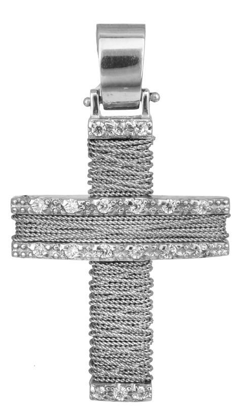 Σταυροί Βάπτισης - Αρραβώνα Λευκόχρυσος σταυρός Κ14 011438 011438 Γυναικείο Χρυσός 14 Καράτια