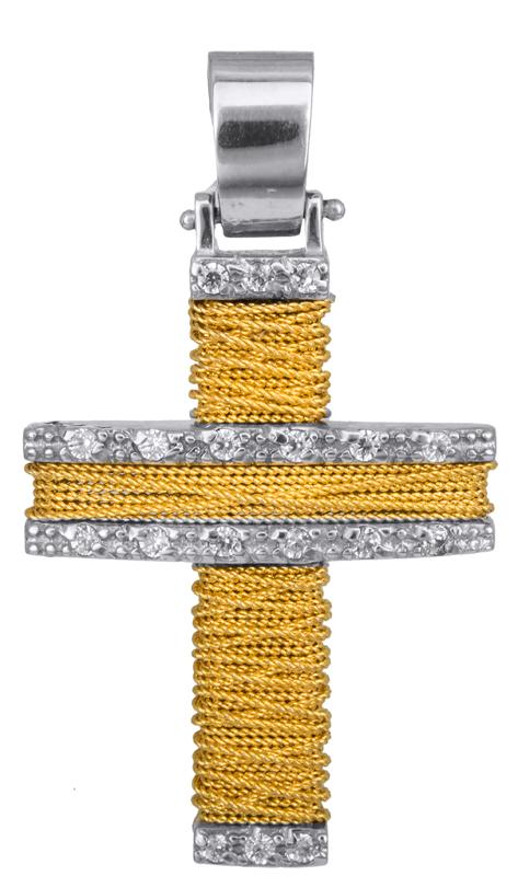Σταυροί Βάπτισης - Αρραβώνα Γυναικείος χειροποίητος σταυρός Κ14 011439 011439 Γυναικείο Χρυσός 14 Καράτια