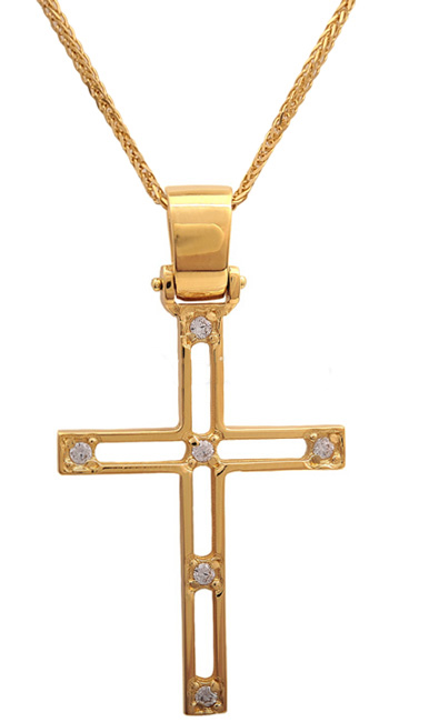 Βαπτιστικοί Σταυροί με Αλυσίδα Χρυσός σταυρός 14Κ με καδένα 011440C Γυναικείο Χρυσός 14 Καράτια